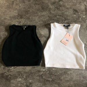 MISSGUIDED Black & White Crop Top Bundle | US 0